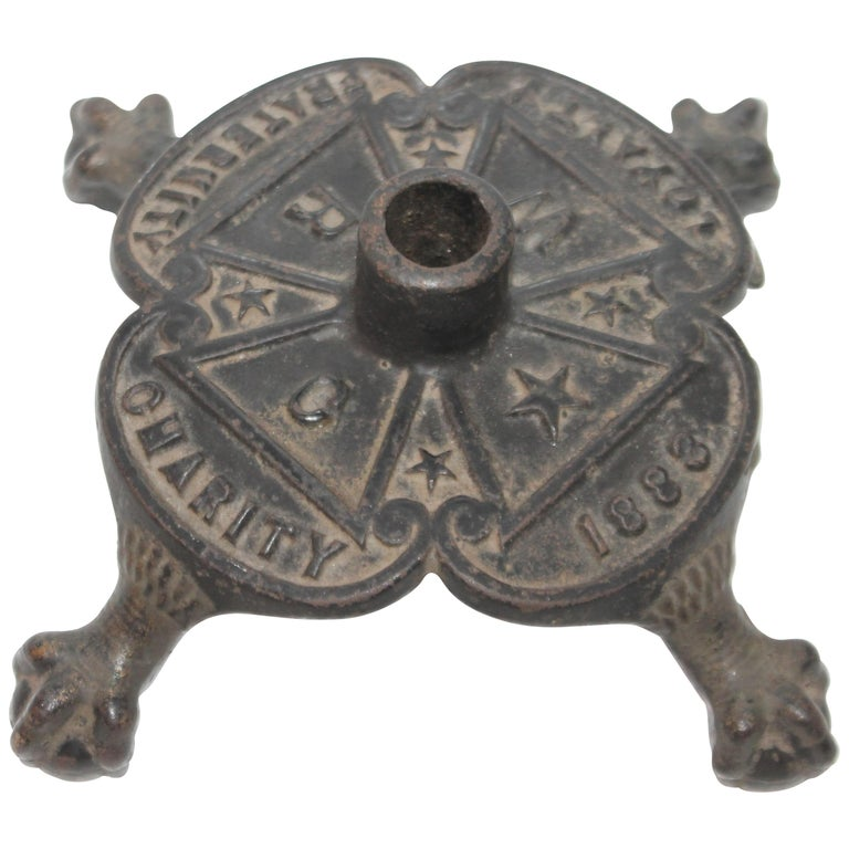 Dated 1883 Masonic Flag Holder in Iron For Sale