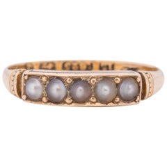 Dated 1899 Victorian 15 Karat Yellow Gold British Cultured Pearl Antique Ring