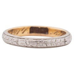 Dated 1914 Art Deco Two Tone 18K Floral Engraved Vintage Stackable Wedding Band