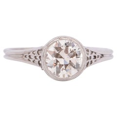 Dated 1915 Edwardian 18K White Gold Solitaire .87CT Old European Diamond Ring