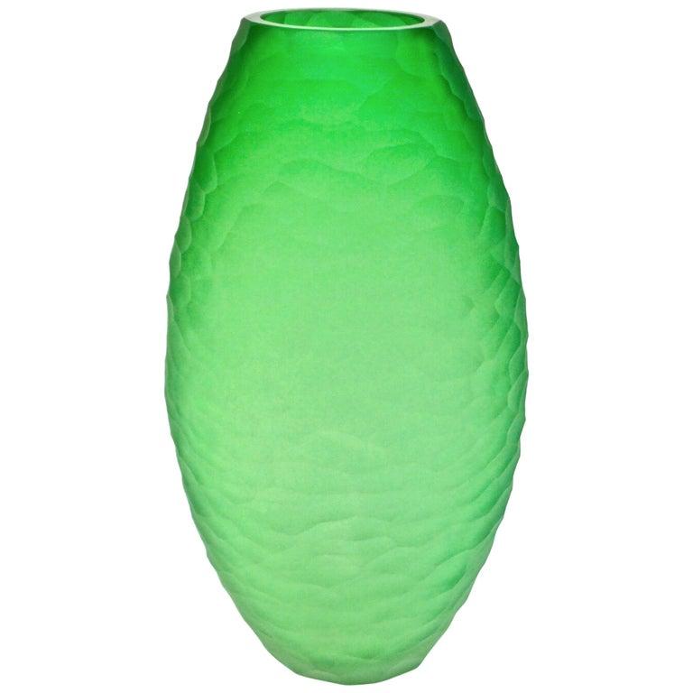 Dated 2007 Modern Apple Green Murano Glass Vase Signed Vivarini & Schiavon For Sale