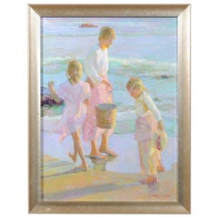 Daughters by Don Hatfield, Vertical Contemporary Framed Beach Scene Painting