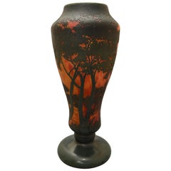 Daum Art Nouveau Green and Marbled Orange Lorrain Landscape Baluster Vase