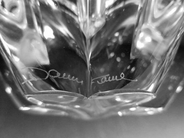 Hand-Crafted Daum Crystal Art Glass Starburst Candleholders Pair by Daum, France For Sale