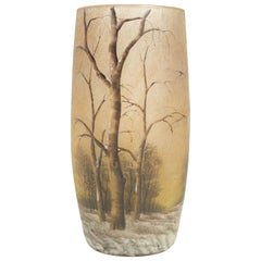 Daum Enameled Glass 'Winter Landscape' Vase