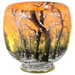 Daum Enameled Glass 'Winter Landscape' Vase