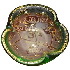Daum Etched Enamelled Gilded Glass Happy New Year French Bowl