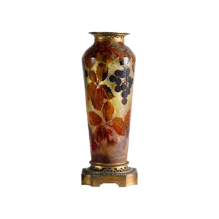 Daum, Feuilles d'autommne, Lamp Base Glass Vase, France, circa 1903 For Sale