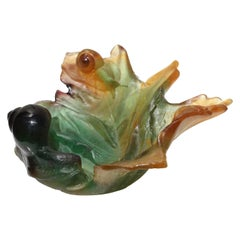 Daum France Amber Pate de Verre Crystal Snail and Leaf bowl