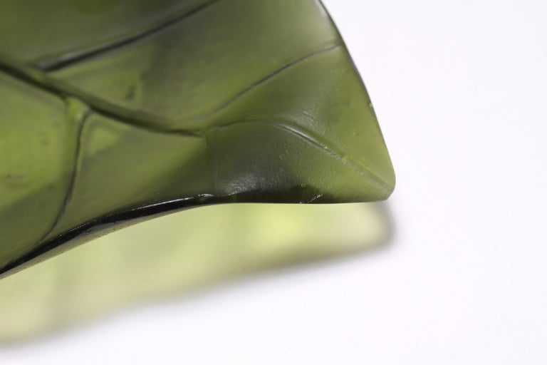Daum France Art Glass Pate de Verre Leaf Platter For Sale 4