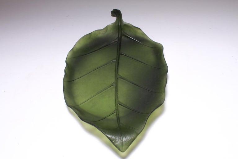 Daum France Art Glass Pate de Verre Leaf Platter For Sale 5
