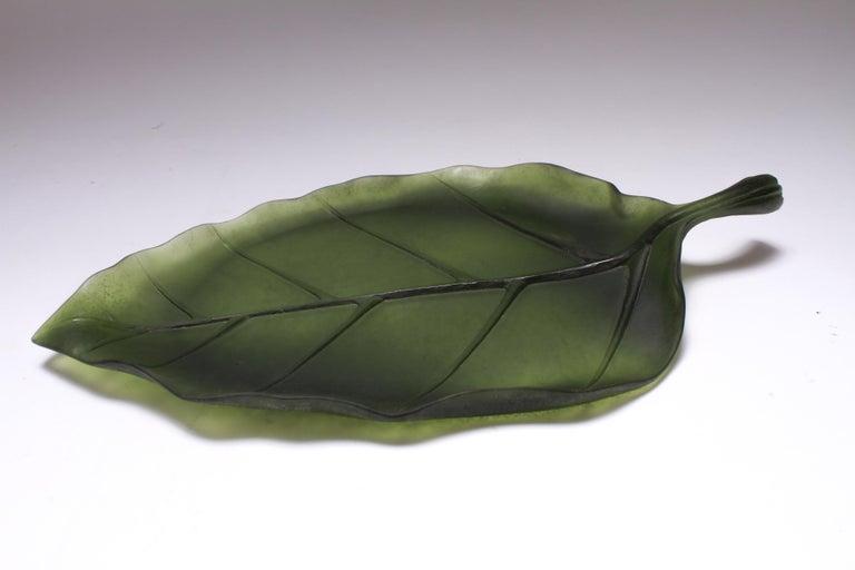 Daum France Art Glass Pate de Verre Leaf Platter For Sale 6