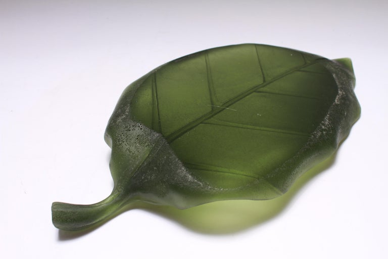 Daum France Art Glass Pate de Verre Leaf Platter For Sale 8