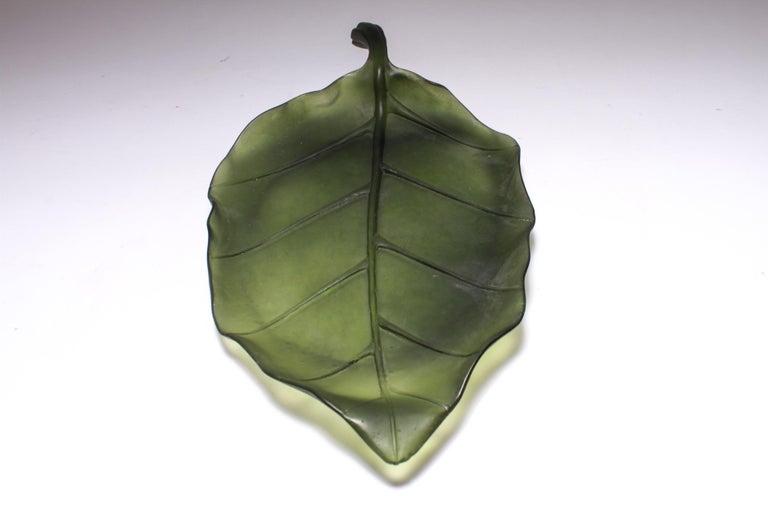 Daum France pate de verre art glass leaf platter. Signed