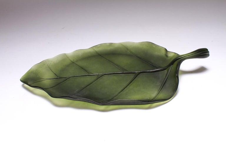 Art Nouveau Daum France Art Glass Pate de Verre Leaf Platter For Sale