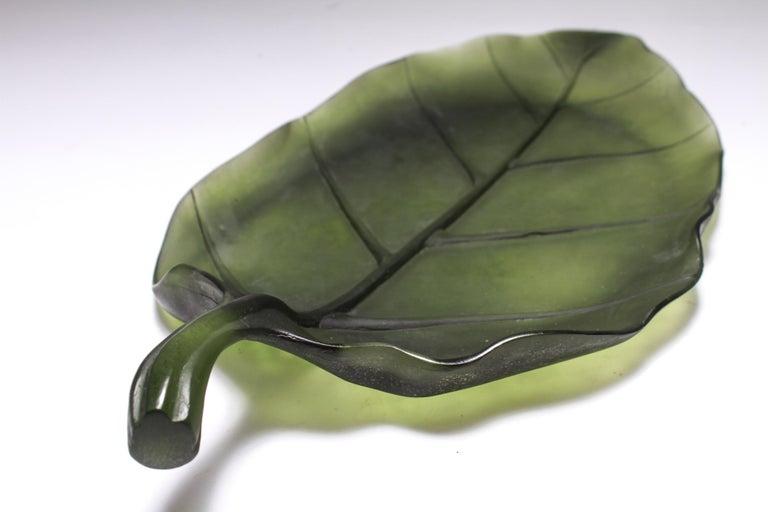 French Daum France Art Glass Pate de Verre Leaf Platter For Sale