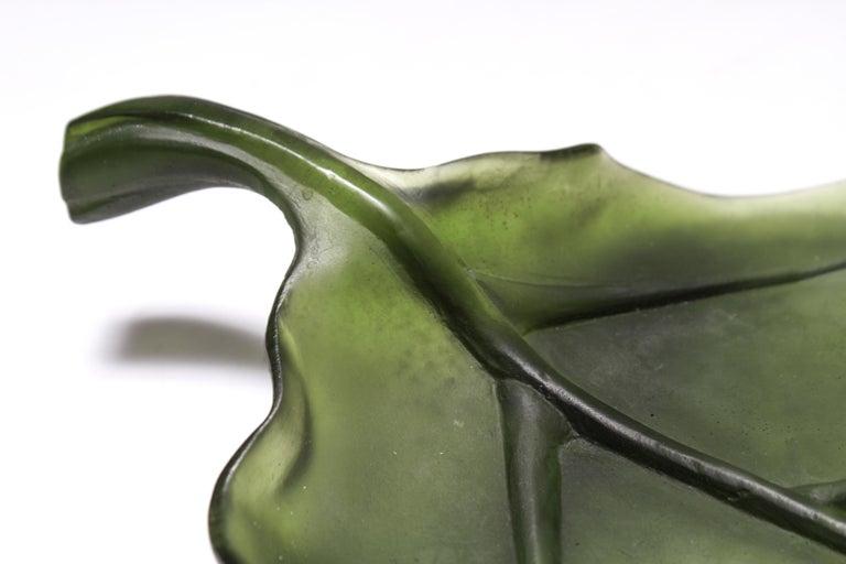 Daum France Art Glass Pate de Verre Leaf Platter For Sale 2