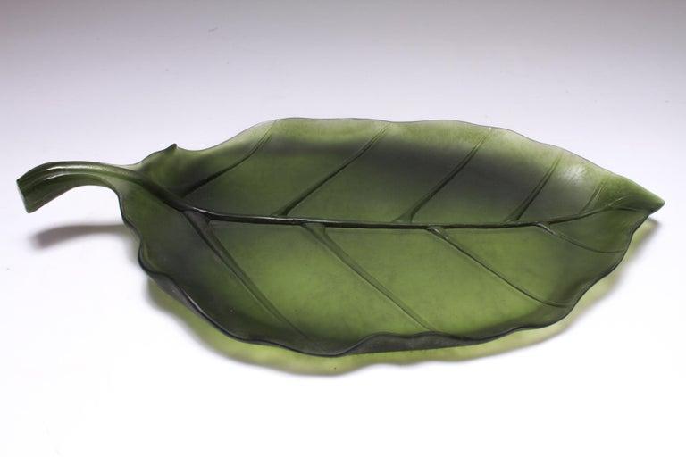 Daum France Art Glass Pate de Verre Leaf Platter For Sale 3