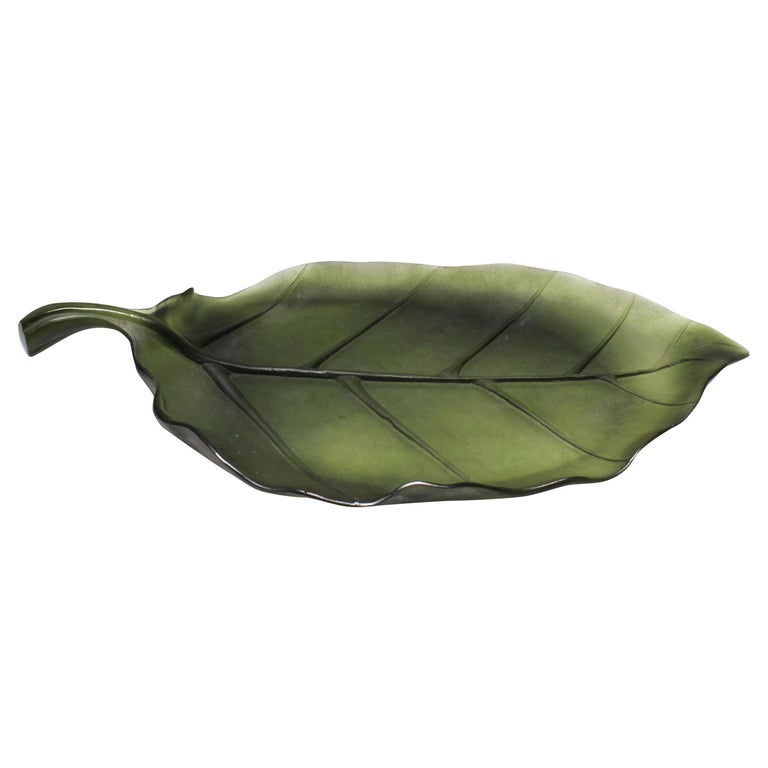 Daum France Art Glass Pate de Verre Leaf Platter For Sale