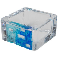Daum France Crystal Blue Pate de Verre Cigar Ashtray Bowl Catchall