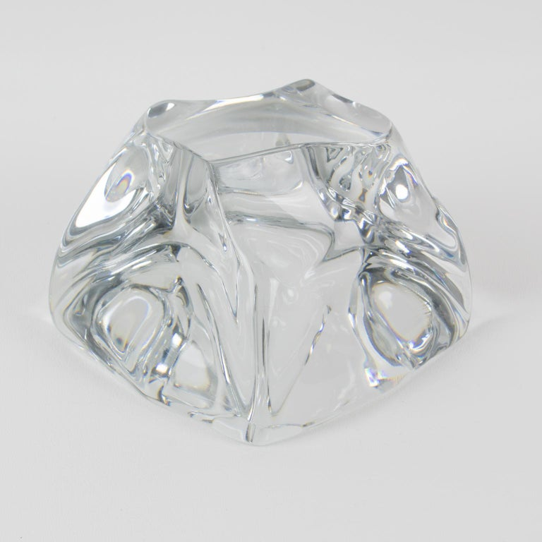 Mid-Century Modern Daum France Crystal Paperweight Sculpture For Sale