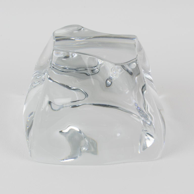 French Daum France Crystal Paperweight Sculpture For Sale