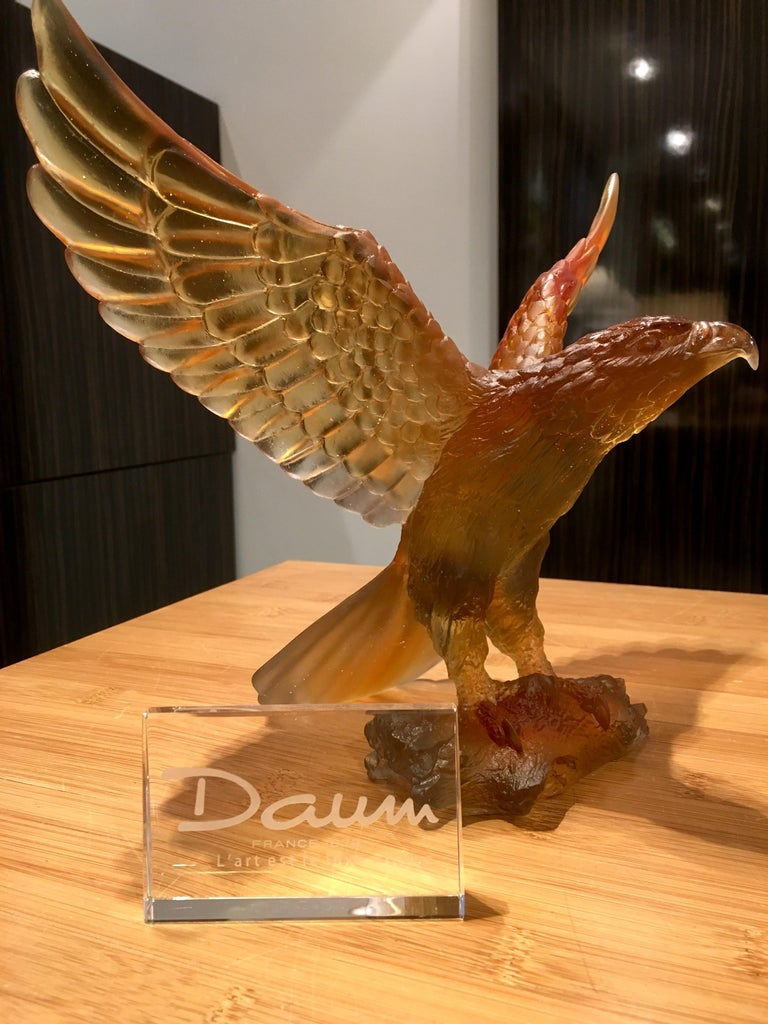 Other Daum France Glass Paste Sculpture, Amber-Gray Eagle, 2019 For Sale