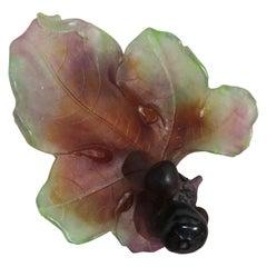 Daum France Pate De Verre Glass Fig Leaf Dish