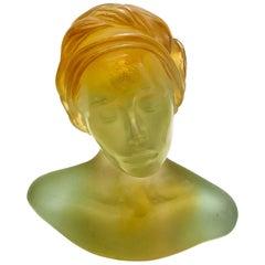 Daum France Pate De Verre Sculpture, La Persane by Marie Paule Deville Chabrolle