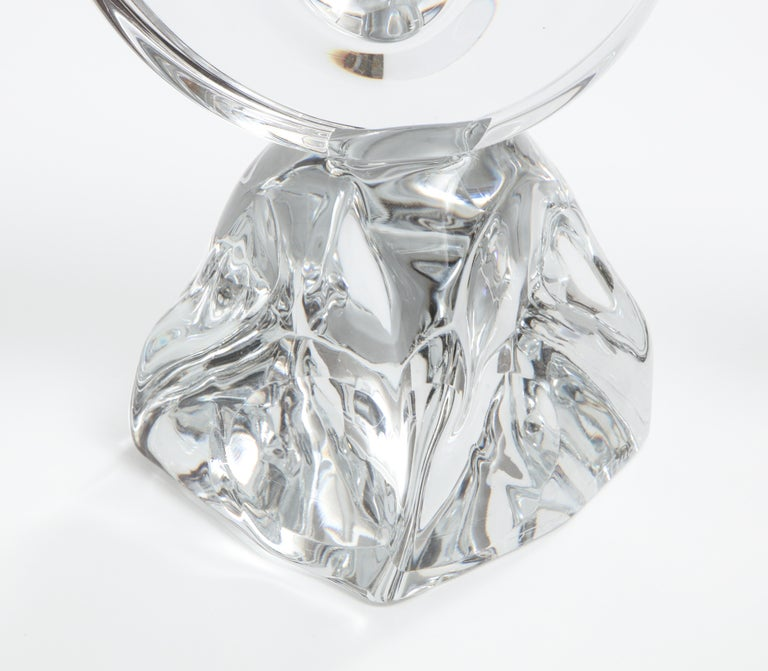 Daum France Two-Arm Crystal Candle Holders In Good Condition For Sale In New York City, NY