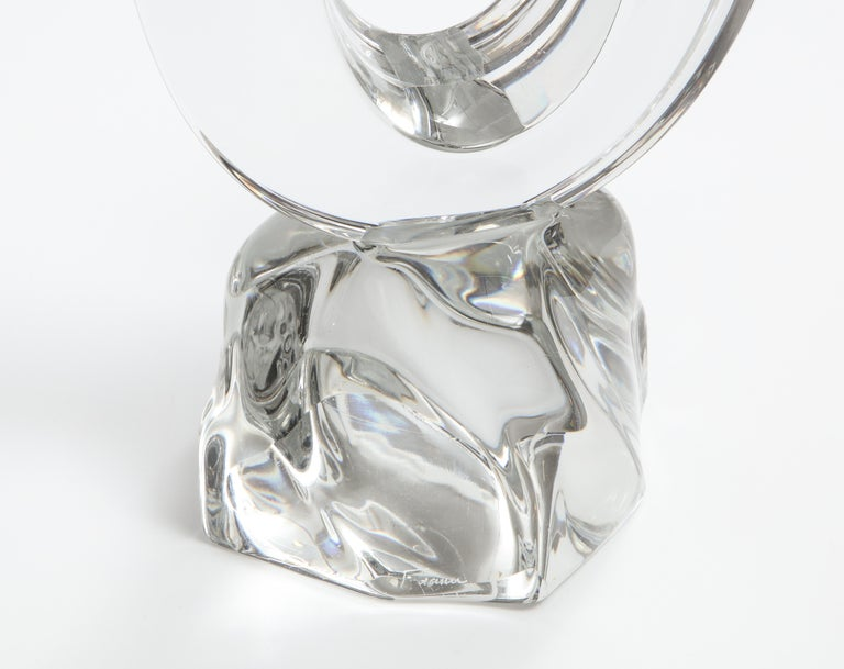 20th Century Daum France Two-Arm Crystal Candle Holders For Sale