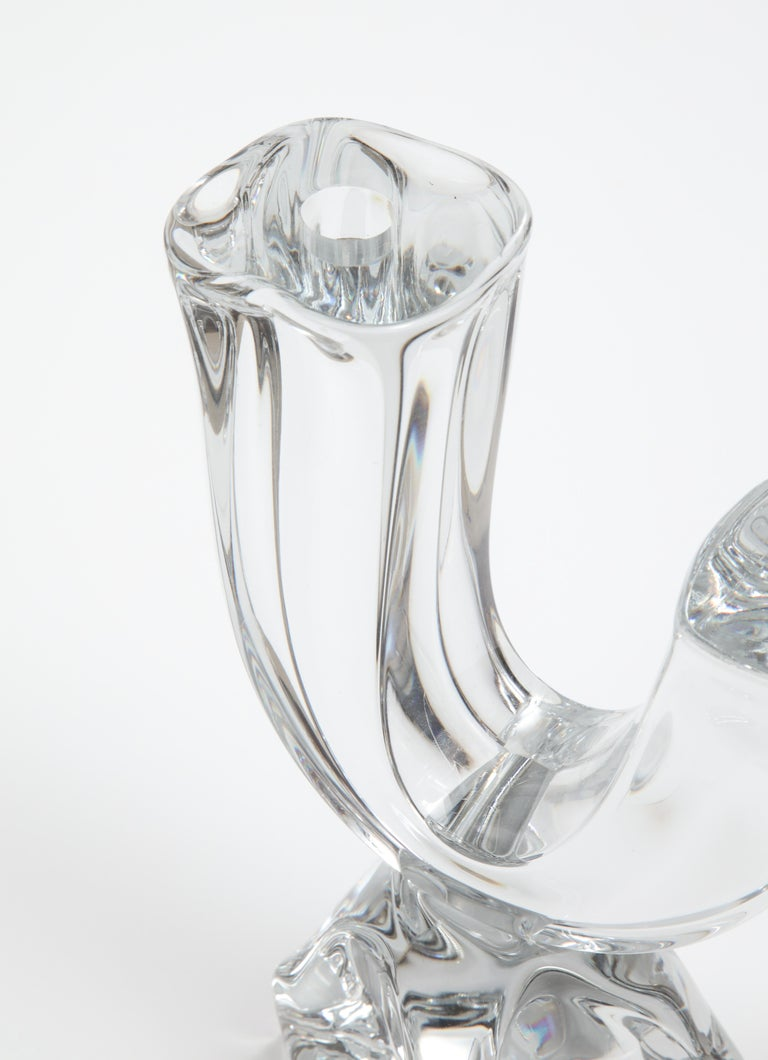 Daum France Two-Arm Crystal Candle Holders For Sale 1