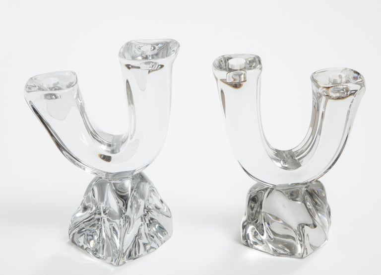 Daum France Two-Arm Crystal Candle Holders For Sale 2