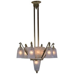 Daum/Lorrain 1920s French Art Deco Chandelier
