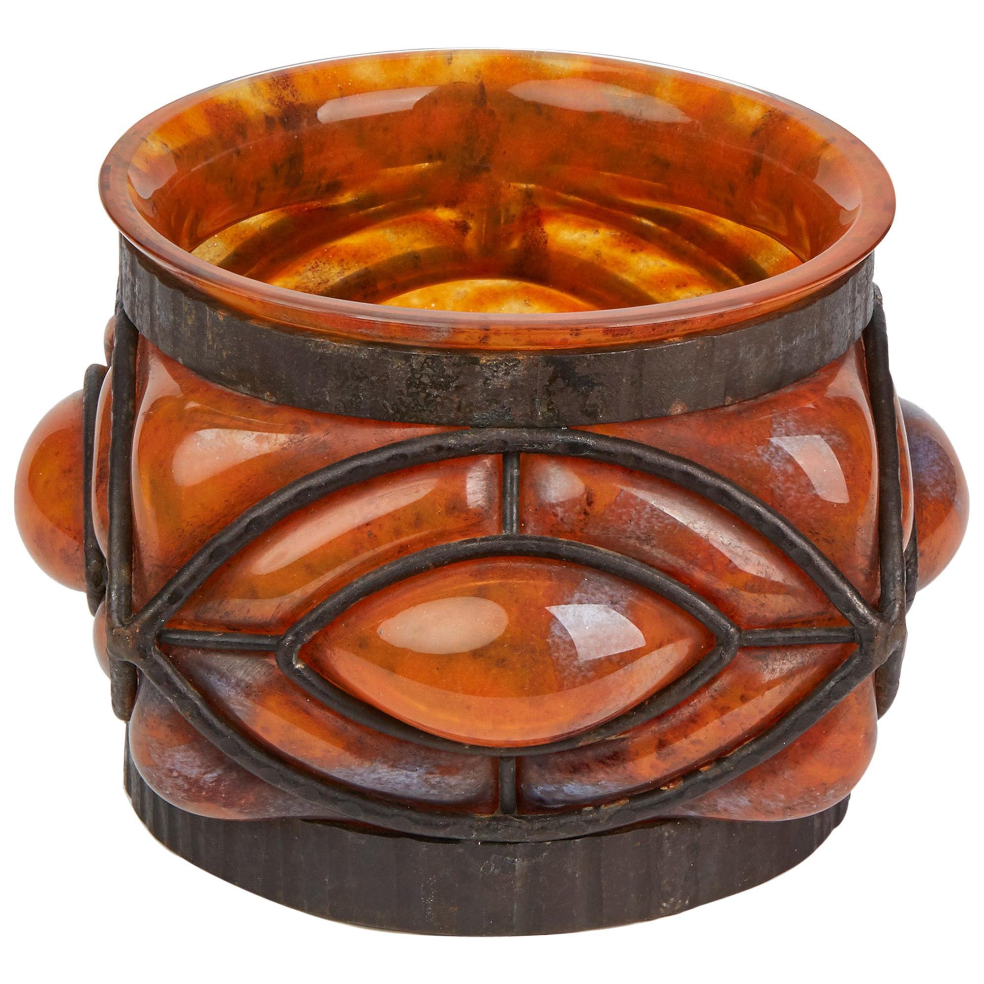 Daum & Louis Majorelle Early Wrought Iron Mounted Orange Glass Bowl, circa 1910