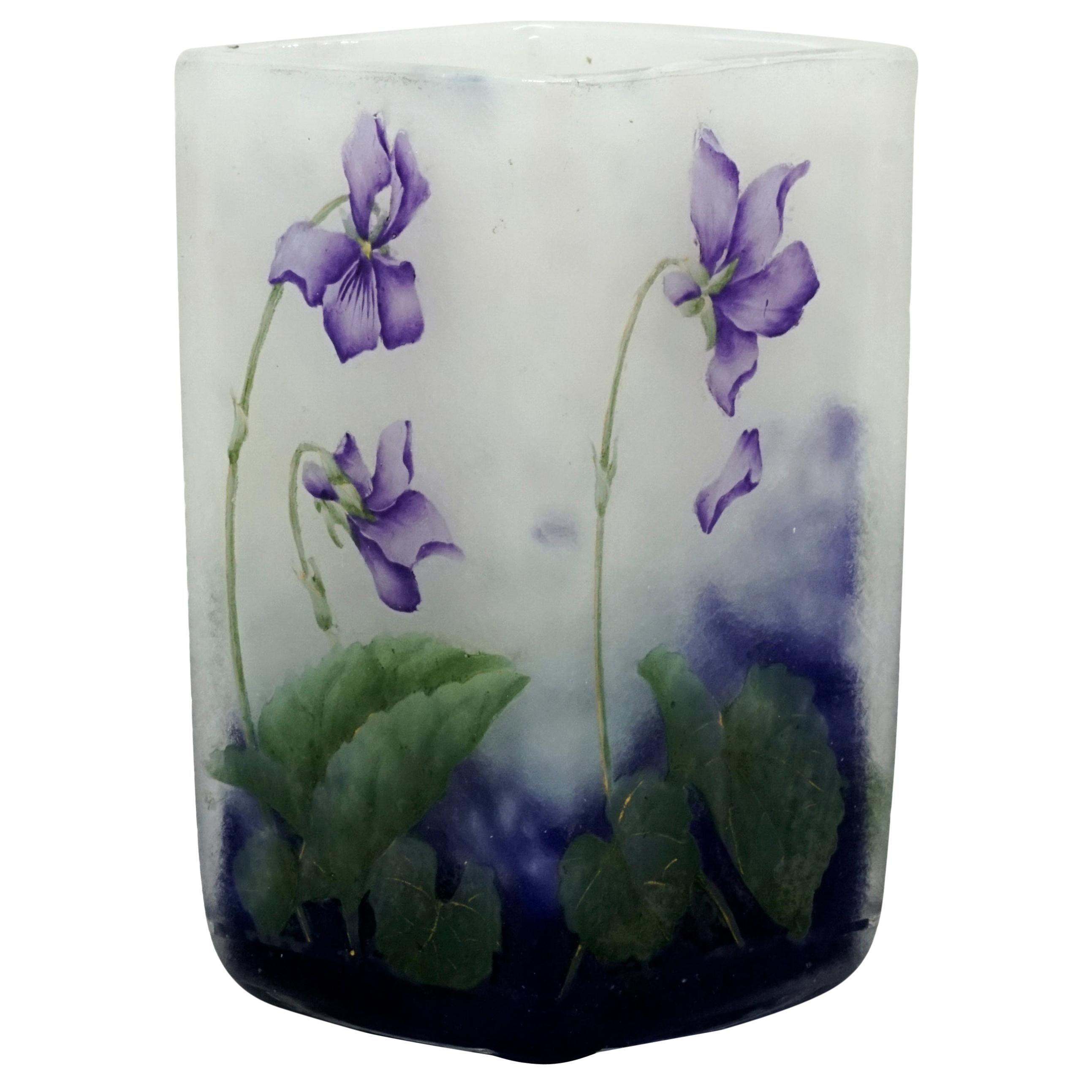 Daum Nancy Art Nouveau Angular Vase with Violet Decor, France, 1900-1905