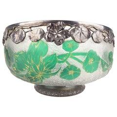 1930s Art  Deco Daum Nancy Glass Bowl, Silver Overlay