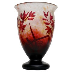Daum Nancy Art Nouveau Cameo Floral Red Footed Vase, 1920