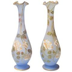 Daum Nancy Art Nouveau Enamelled Vases by Henri Bergé