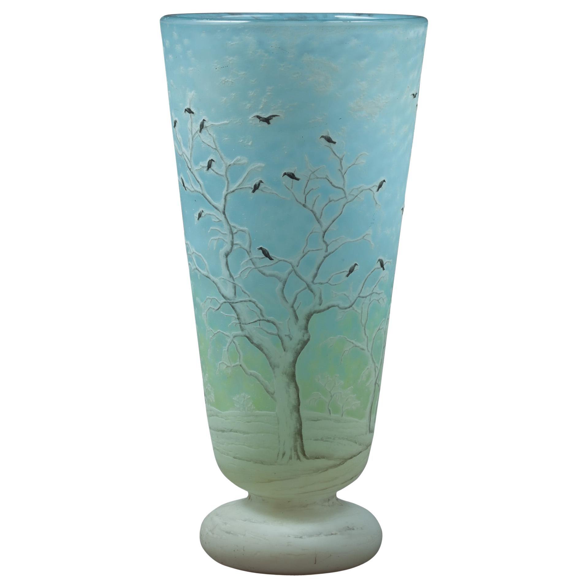 "Daum Nancy ""Blackbird"" Vase"