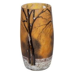 Daum Nancy Cameo and Enamel 'Winter Landscape' Glass Vase