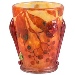 Daum Nancy Cameo Glass Beaker Vase, circa 1910