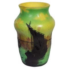 Daum Nancy Cameo Glass Vase, Decorated with Ancient Chinese Sailing Ships