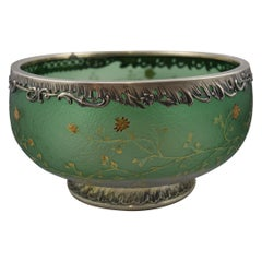 Daum Nancy Cameo Green Glass and Sterling Overlay Mounted Bowl Thistle Design