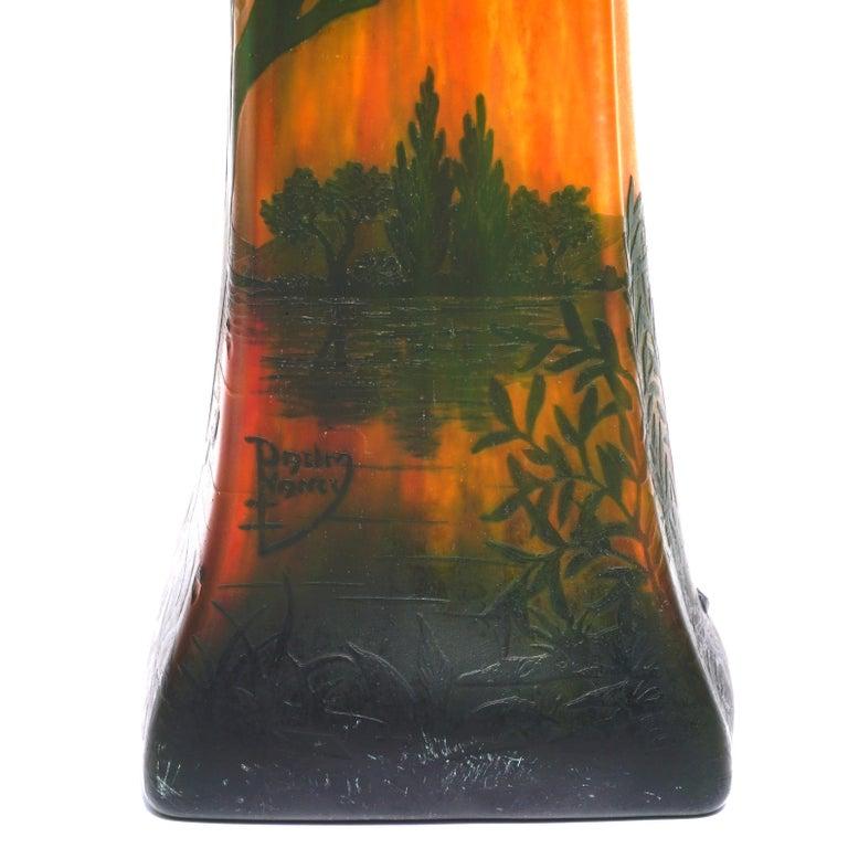 Carved Daum Nancy Cameo Scenic Art Nouveau Vase For Sale