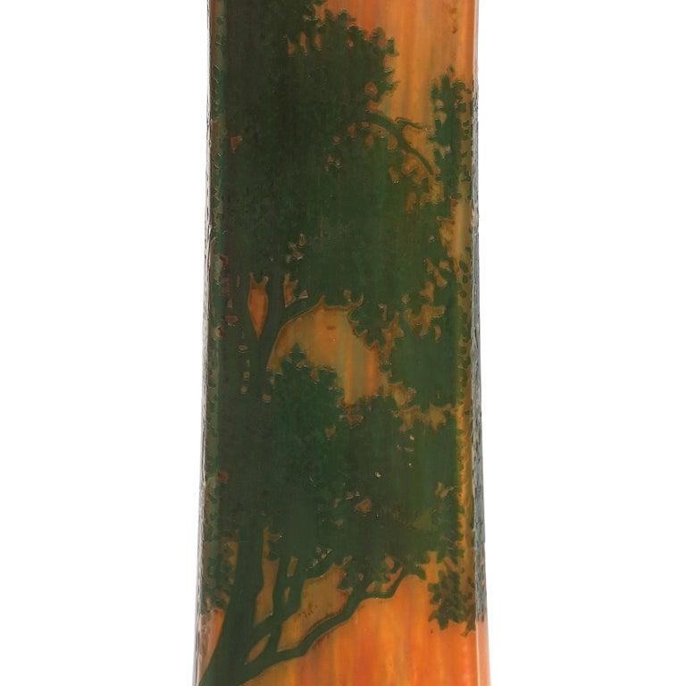 Daum Nancy Cameo Scenic Art Nouveau Vase In Good Condition For Sale In Dallas, TX