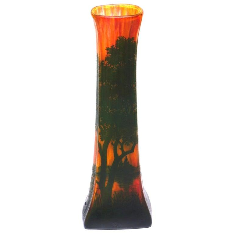Daum Nancy Cameo Scenic Art Nouveau Vase For Sale