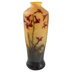 Daum Nancy Enameled and Etched Hyacinth Landscape Glass Vase