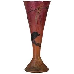 Daum Nancy Enameled Cameo Glass Black Crow and Frog Vase, circa 1900