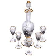 Daum Nancy Enameled Cordial Set